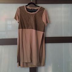 A suade two tone mocha top High slit tunic Tops Tunics