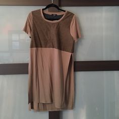 A suade two tone mocha top High slit tunic Tops Tunics