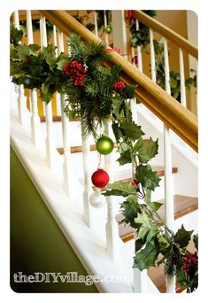Christmas Decor - Banister garland