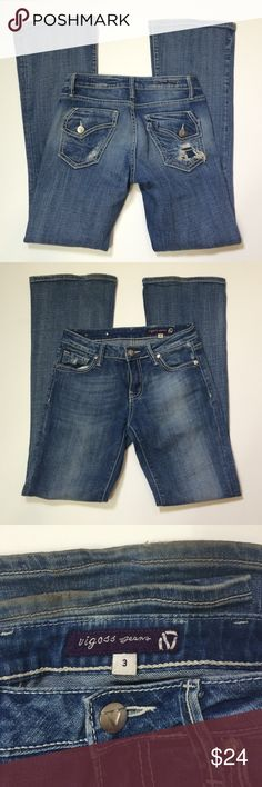 Vigoss jeans size 3, style #P2189J Some wear on bottom hems - see photo 3, there are a few faint stains and jeans are distressed, otherwise good condition, waist 27 / inseam: 32 Vigoss Jeans Boot Cut