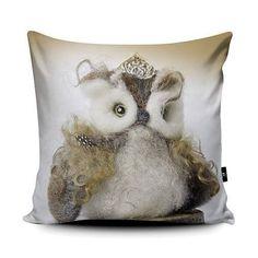 Owl Cushion - PRE ORDER - A luxurious faux suede square soft cushion pillow printed with original art Owl Cushion, Cushion Pillow, Art Pad, Felt Baby, Baby Deer, Needle Felting, Ireland, Original Art, Cushions