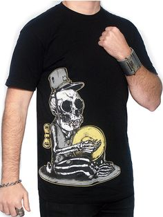 "Men's ""Dead Chimp"" Tee by Skygraphx (Black) #InkedShop #tee #Menswear #mensclothing #chimp #menswear #skeleton #top #graphictee"