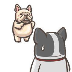 French Bulldog PIGU-Sticker VIII Bulldog Gif, Funny Bears, Adventure Style, Dog Illustration, Funny Stickers, Cute Gif, Love Pictures, French Bulldog, Cute Animals