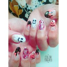 """Cute ghosts are your friends in October #nails #nailart #soakoffgel #gelnails #japanesenailart #halloween #halloweennails #kawaiinails #kawaii…"""