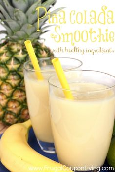 Piña Colada Smoothie with Honey and Fruit This delicious Pina Colada Smoothie is a fresh milkshake mixed out of several fresh fruit.This delicious Pina Colada Smoothie is a fresh milkshake mixed out of several fresh fruit. Pina Colada Smoothie Recipe, Smoothie Fruit, Smoothie Drinks, Healthy Smoothies, Healthy Drinks, Healthy Snacks, Avocado Smoothie, Orange Julius Pina Colada Recipe, Fruit Juice