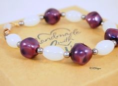 Moonstone and Pearl Bracelet Purple and White by CKDesignsUS