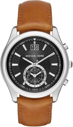 c4091239621e MICHAEL Michael Kors Large Stainless Steel Chronograph Watch w  Leather  Strap