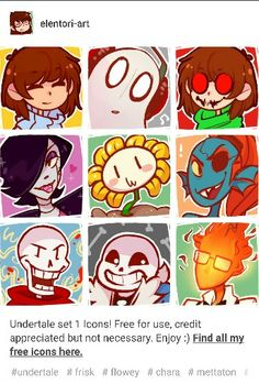 Undertale icons! Also if you take the time to go to this persons tumblr they have a lot of other good ones too!
