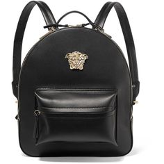 Versace Palazzo medium leather backpack ($2,255) ❤ liked on Polyvore featuring bags, backpacks, black, decorating bags, leather backpack, leather zip backpack, zip bag and leather zipper bag