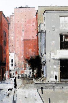 Geoffrey Johnson (via Hubert Gallery) - SoHo, 2014, Oil on wood panel - Chelsea, 2014, Oil on wood panel - Village Street #8, 2015