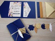 POCKETFOLD Einladungskarten Set Boho Hochzeit | Blau U0026 Gold