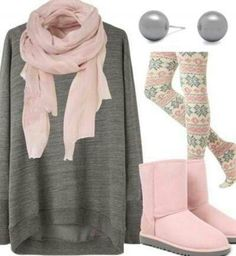 #xmas #gifts #ugg I need to find those leggings and get some pink boots, cute soft pink outfit
