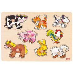 Puzzle s úchytkami Zvieratká farmy Drevené vkladacie puzzle pomáha pri… Wooden Toy Boxes, Wooden Toys, Baby Toys, Kids Toys, Puzzles, Owl Mobile, Activity Cube, Puzzle Toys, Safari Animals