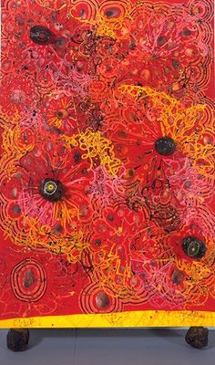 Chris Ofili Popcorn Tits 1996 oil paint, paper collage, glitter, polyester resin, map pins, elephant dung on linen 183 x 122 cm