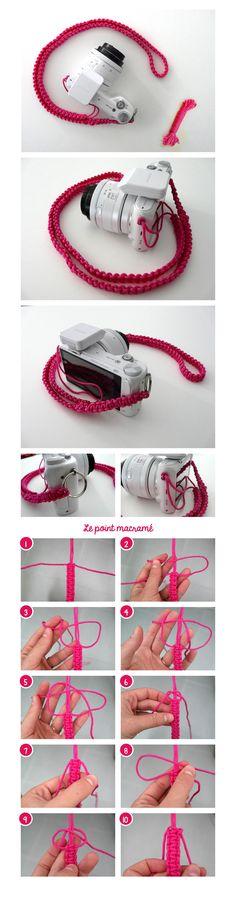 Sangle d'appareil photo en créacord point macramé