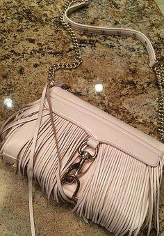 Fringe cross body beige purse