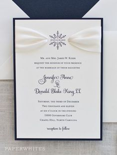 Our Snowflake Ribbon invitation is a true classic shown here in navy ink with and ivory ribbon detail. Lace Invitations, Wedding Invitation Kits, Winter Wedding Invitations, Wedding Stationary, Wedding Cards, Diy Wedding, Summer Wedding Colors, Winter Wonderland Wedding, Wedding Planning