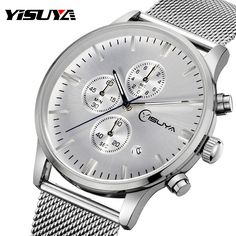 Top Brand YISUYA Silver Simple Men Watches Chronograph Date Wrist Watch Male Steel Mesh Iron Quartz Watch reloj hombre