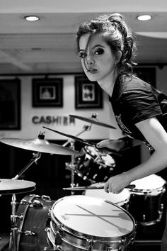 Drummer girl | cashier | drums | music | make it loud | black and white | rock n roll | beat