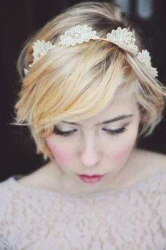 Lace headband Bridal Headband Floral headband by Letterstojane, $60.00 **Ahh! I love this headband for my short hair!!