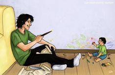 Crayons - GIF by anacaarol Sirius using magic to make baby Harry laugh