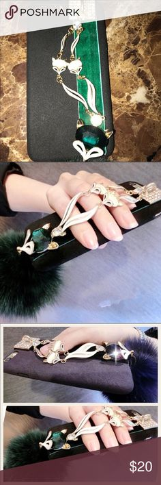 iPhone 7/8 Plus Rabbit Hair Fox Head w/ Hand Strap Silicone Fitted Bumper Case ~ Rabbit Fur Pom Poms ~ Fox Head Bling ~ Diamond Chain/Hand Straps ~ Smoke Free Home ~ Same Or Next Day Shipping ~ Additional Sizes/Colors Available In Separate Listings ~ Boutique Accessories Phone Cases