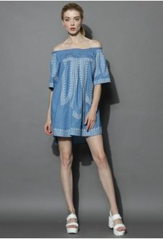 Boho All the Way Tunic in Chambray - Retro, Indie and Unique Fashion