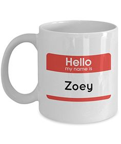 Zoey Name Mug - Funny Coffee Mug with Hello My Name Quote for Female, Girls, Women, Friend, Family - 11 OZ Humorous Ceramic Novelty Tea Cup with Saying - Perfect Unique Creative Gift Set >>> Quickly view this special cat product, click the image