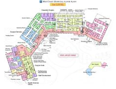Mid Coast Hospital Floor Plans - Level 1 -- color sections Healthcare Architecture, Healthcare Design, School Architecture, Architecture Plan, Hospital Floor Plan, Hospital Plans, The Plan, How To Plan, Plan Autocad
