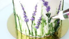 How to Pipe Buttercream Lavender Flowers Lavender Cake, Lavender Flowers, Buttercream Flower Cake, Fondant Flowers, Fondant Rose, Frosting Techniques, Frosting Tips, Flower Cake Design, White Chocolate Buttercream