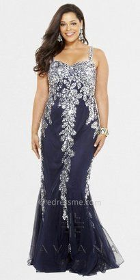 fd42d7fc070a Faviana Strappy Sequin Stretch Tulle Plus Size Evening Dress Navy Blue Prom  Dresses, Navy Dress