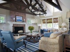 Red Brick Fireplace Design Ideas, Pictures, Remodel and Decor House Of Turquoise, Turquoise Accents, Blue Accents, Living Room Designs, Living Spaces, Living Rooms, Red Brick Fireplaces, Traditional Family Rooms, Living Room Decor Inspiration