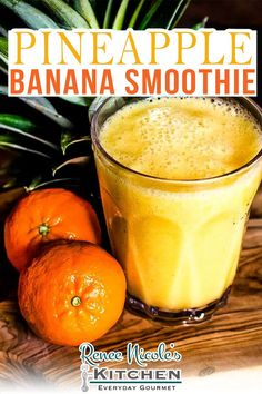 Tropical pineapple banana smoothie is tasty combination of three simple ingredients: pineapple, banana, and fresh orange juice. Easy to make, it's like a beach vacation for your taste buds and a delicious way to flavor your day. Dairy-free. Added-sugar-free. Homemade smoothies are a great way to add more nutrients to your diet and one of the easiest things to master in the kitchen. Simply gather your ingredients, drop them in the blender, and puree until smooth. | @RNsKitchen #summersmoothie Easy Healthy Smoothie Recipes, Homemade Smoothies, Pineapple Banana Smoothie, Fresh Meat, Sweet Pie, Fruit In Season, 3 Ingredients, Gourmet Recipes, Orange Juice