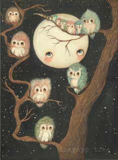 Painting of Owls in Tree | Owl Print Owls In A Tree Nursery Art Bird Moon Wall Art ---Night Awake ...
