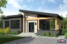 This simple one storey single detached house plan has 2 bedrooms, 1 toilet and bath, living room, dining and kitchen. At the right side is an open patio where you can celebrate occassions for the [. Prefabricated Houses, Prefab Homes, Modern House Plans, Small House Plans, Contemporary Home Plans, Future House, My House, One Storey House, Modern Bungalow