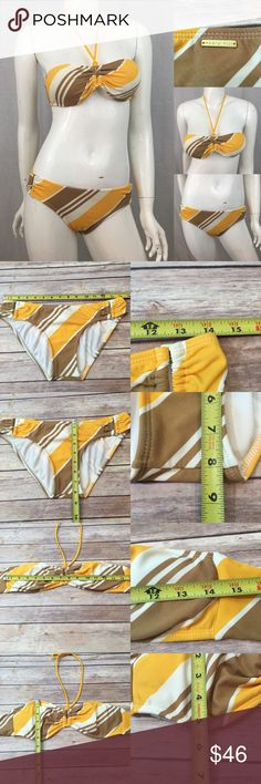 💄Sz M Radio Fiji Diagonal Strip Yellow Bikini 2pc Measurements are in photos. Normal wash wear, light piling on back. no other flaws. C3/24  Ask about a bundle discount on all items that are not ⏰Flash Sale items! I ship everyday. I always package safely. If I run out of boxes, I will use priority bags over a polymailer bag. If you prefer to only receive this great item in a box, please let me know! Thanks! Radio Fiji Swim Bikinis