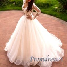 Ball gowns wedding dress, white lace organza long evening dress with sleeves