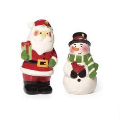 Pfaltzgraff Holiday Santa And Snowman Salt And Pepper Set NEW NIB #Pfaltzgraff
