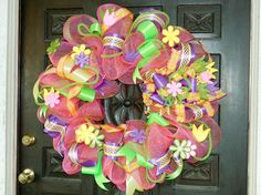 Whimsical Spring Coral Deco Poly Mesh Wreath  Geo by thotdesign, $135.00