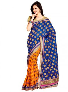 Fascinating Royal Blue & Deep Orange Embroidered #Saree #designersarees #clothing #womenswear #womenapparel #ethnicwear