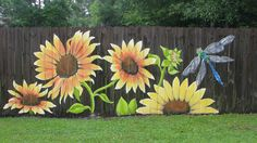 """""""Sunflowers"""" You can see more of my work Lori Gomez Art on fb. #garden_fence_mural"""