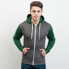AWDIS Retro zoodie. Full zip hoodie with metal zip. Slim fit. Contrast sleeves and hood. Twin needle stitching detailing. Double fabric hood. Contrast flat white drawcords. Kangaroo pouch pocket. Right hand side pocket has small hidden opening for earphone cord feed. Hidden ear phone loops. Ribbed cuff and hem. Retro zoodie by AWDIS from WWW.SLOGANSCLOTHING.CO.UK