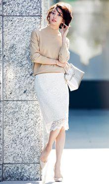 レースが好き。 シンプルでちゃんとしてるけど、柔らかい女性らしさがある。 Ol Fashion, Japan Fashion, Office Fashion, Skirt Fashion, Daily Fashion, Korean Fashion, Business Fashion, Fashion Outfits, Womens Fashion