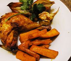 Curried Roast Chicken Leg with Spicy Sweet Potato Chips