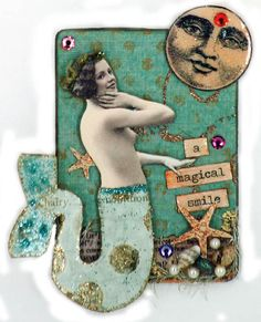 Original Mermaid Art Collage , Art Aceo Card , Nude Collage , Artist Card , A Magical Smile