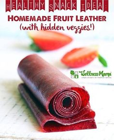 Fruit Leather Recipe (with Beets) This simple and natural fruit leather recipes combines fresh or frozen strawberries with hidden beets for extra nutrients and lemon juice.This simple and natural fruit leather recipes combines fresh or frozen strawberries Homemade Fruit Leather, Fruit Leather Recipe, Hidden Vegetable Recipes, Hidden Veggies, Fruit Snacks, Healthy Snacks, Kid Snacks, Healthy Candy, Fruit Drinks