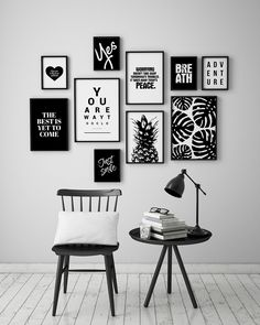 Super Wall Art DIY In Black And White For Gallery Wall. If you are planning to transform a blank wall, the time to curate your space is now. There are a number of options for you to choose from, you can always find your favorite wall art ideas to spark yo Black And White Wall Art, White Walls, Black White, Black Frames On Wall, Black And White Living Room Ideas, Black And White Office, Black Framed Wall Art, Black Decor, White Decor