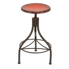 The height of this bar stool can be adjusted up to maximum comfortable level of user. This round shape is made over sturdy steel pipe structure with three supports bent artistically. $112