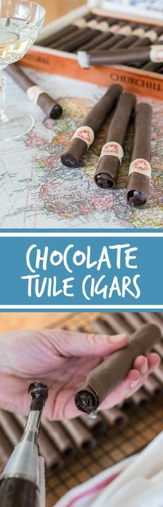 These Chocolate Tuile Cigars with Whisky Ganache feature wafer-thin chocolate cookies loaded with boozy chocolate. This truly decadent recipe provides a sweet alternative to the idea of celebratory cigars! Chocolate Cigars, Chocolate Cookies, Chocolate Ganache, Strawberry Desserts, Cheesecake Strawberries, Strawberry Sauce, Cookie Recipes, Dessert Recipes, Candy Recipes