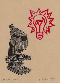 Linocut Print Vintage Microscope Lightbulb by Printmistress888 Holiday Sale! Original Artwork in my etsy shop https://www.etsy.com/listing/96399439/linocut-print-vintage-microscope